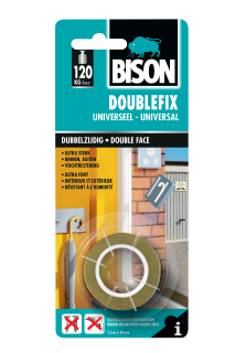 Bison Doublefix Universeel Tape Card 1.5 m x 19 mm NL/FR
